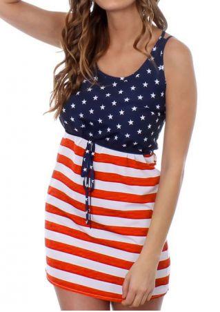American Flag Printed Drawstring Mini Dress American