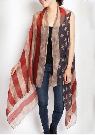 American Flag Printed Casual Cape