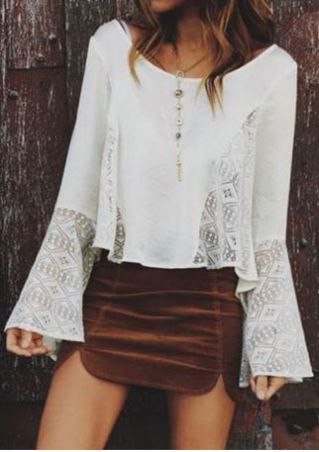 Solid Lace Splicing Flare Sleeve Blouse without Necklace