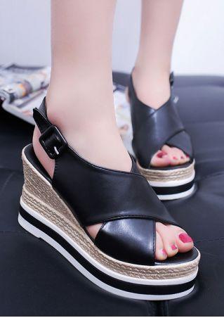 Color Block Slingbacks Wedge Sandals