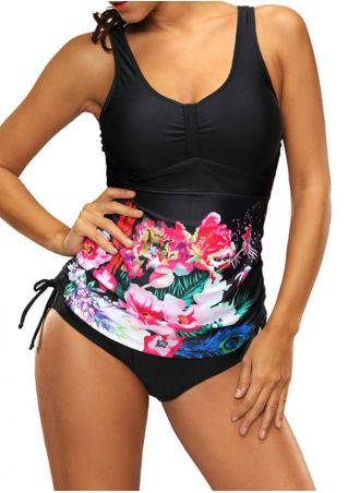 Floral Leaf Tie Swimsuit
