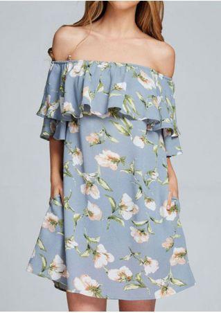 Floral Off Shoulder Flouncing Casual Mini Dress