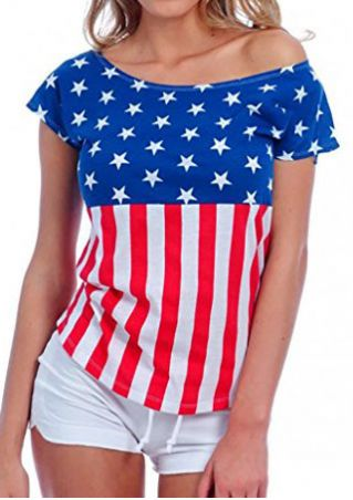 American Flag Striped Star One-Shoulder T-Shirt American