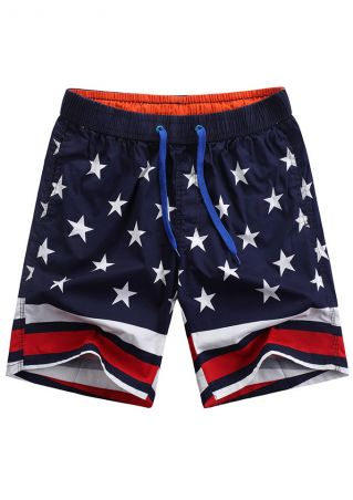 Star Striped Splicing Pocket Drawstring Shorts