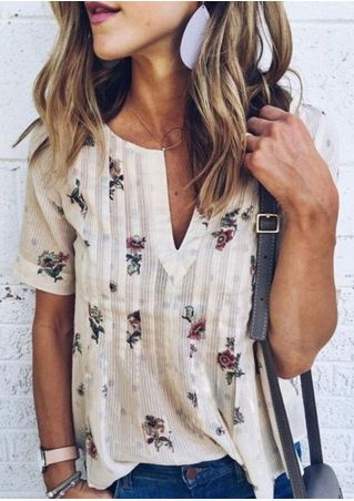 Floral V-Neck Short Sleeve Blouse without Necklace