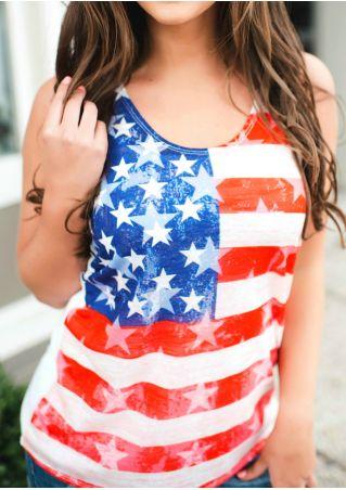 American Flag Star Striped Splicing Tank