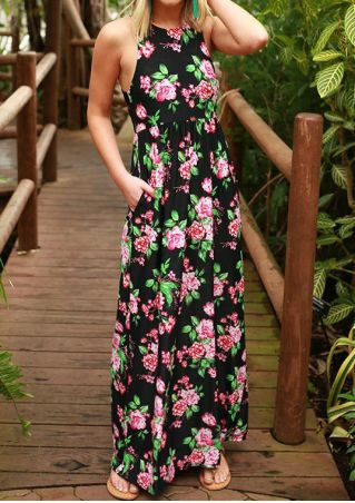 Floral Pocket O-Neck Casual Maxi Dress