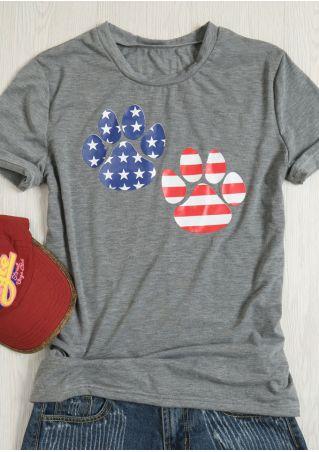 American Flag Printed Paws T-Shirt