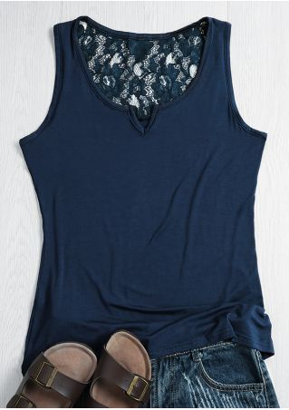 Solid Lace Floral V-Neck Tank
