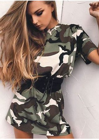 Camouflage Printed Mini Dress with Belt Camouflage