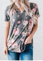 Floral V-Neck Short Sleeve T-Shirt