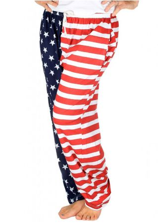 American Flag Pocket Drawstring Wide Leg Pants