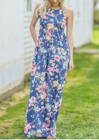 Floral O-Neck Sleeveless Maxi Dress