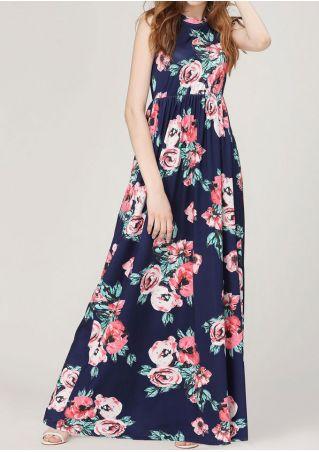 Floral Ruffled Sleeveless Maxi Dress