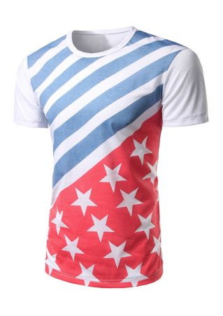 Striped Star Splicing Short Sleeve T-Shirt