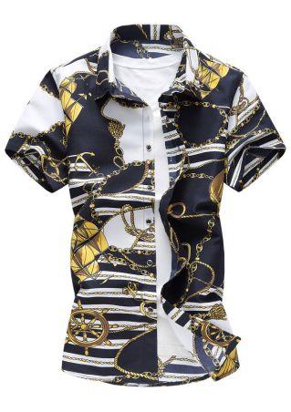 Printed Buttton Short Sleeve Shirt