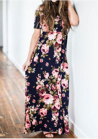 Floral O-Neck Short Sleeve Maxi Dress