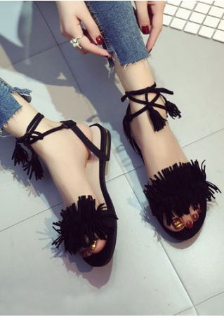 Solid Tassel Lace Up Flat Sandals