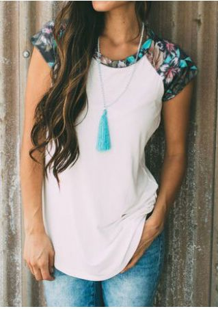Floral Baseball T-Shirt without Necklace