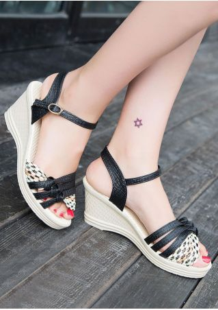 Cross Buckle Strap Wedge Sandals
