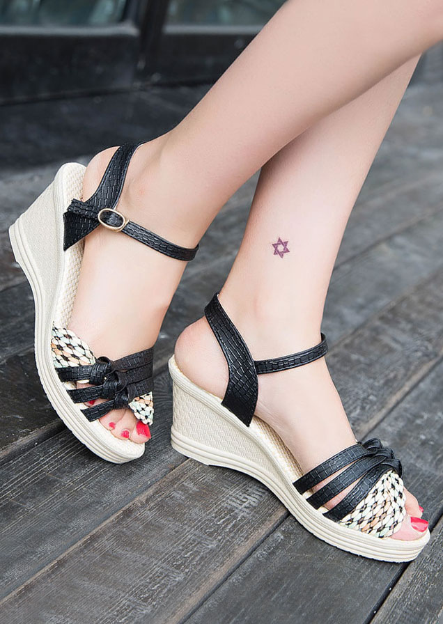 Image of Cross Buckle Strap Wedge Sandals