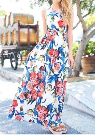 Floral Pocket Sleeveless Maxi Dress