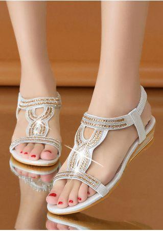 Elastic Imitated Crystal Flat Sandals