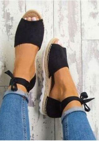 Summer Solid Tie Peep Toe Flats