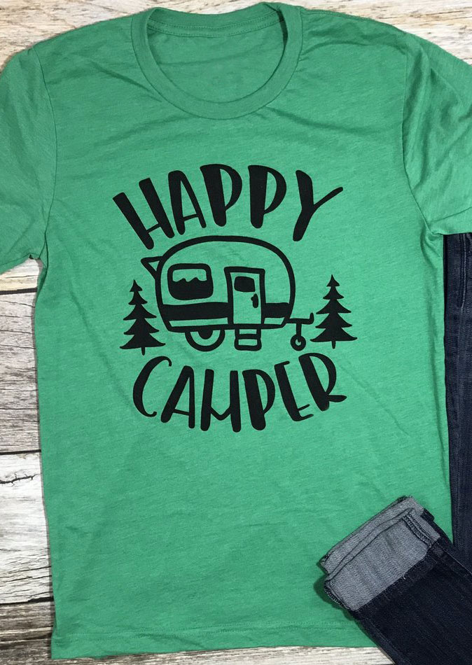 Happy Camper Short Sleeve T Shirt Fairyseason