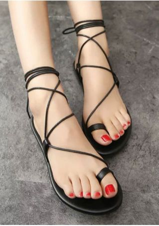 Solid Lace Up Ankle-Wrap Flat Sandals