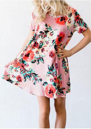 Floral O-Neck Mini Dress