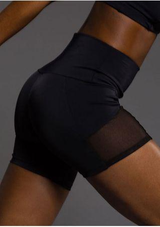 Solid Mesh Splicing Skinny Sport Shorts Solid