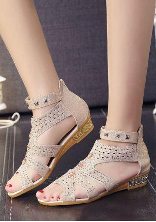 Rivet Zipper Hollow Out Flat Sandals
