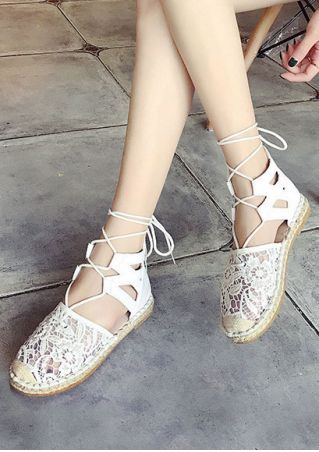 Solid Lace Floral Lace Up Flats