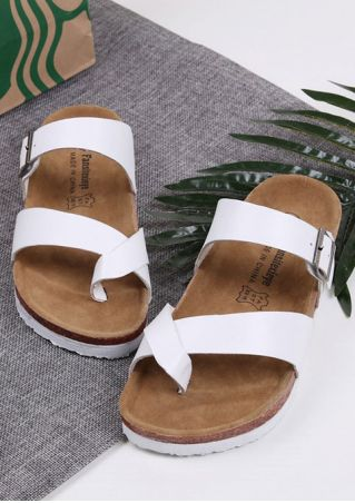Solid Buckle Strap Flat Sandals Solid