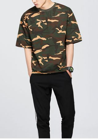Camouflage Printed O-Neck Short Sleeve T-Shirt