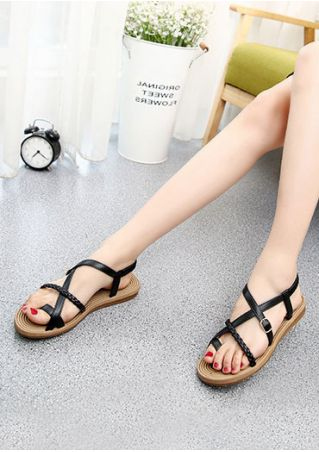 Solid Braid Buckle Flat Sandals
