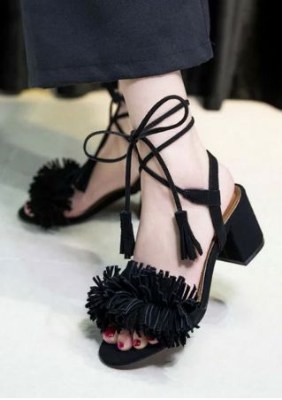 Solid Tassel Lace Up Heeled Sandals