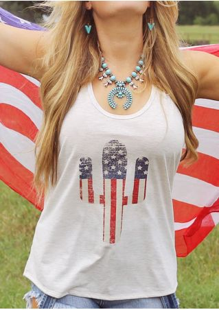 American Flag Cactus Tank without Necklace American
