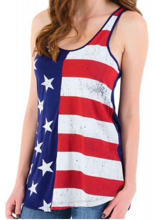 American Flag Printed Star Tank