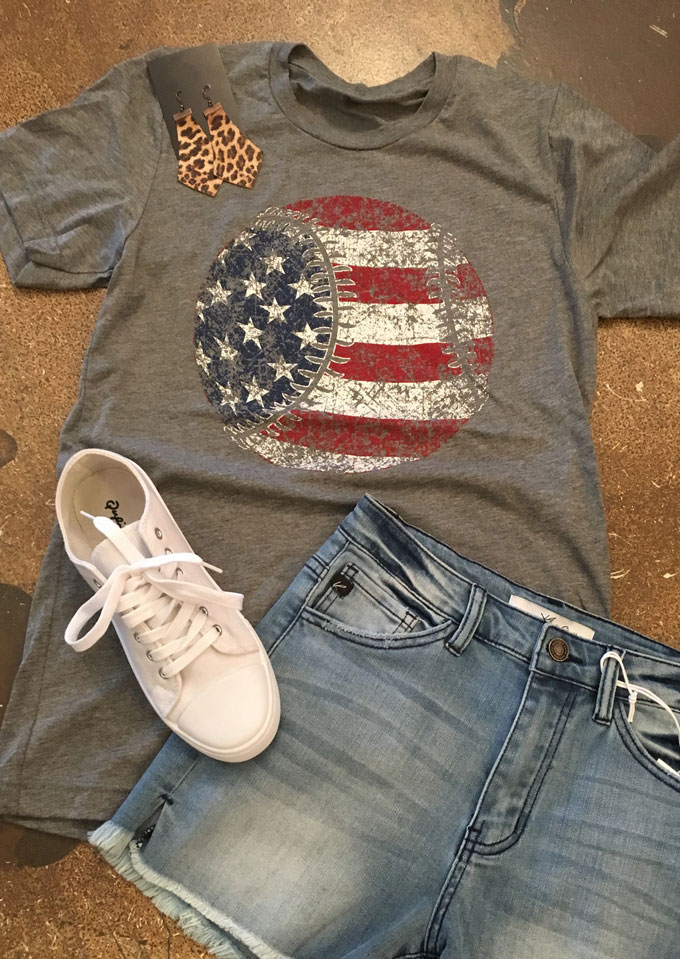 American Flag Baseball Printed T Shirt Fairyseason