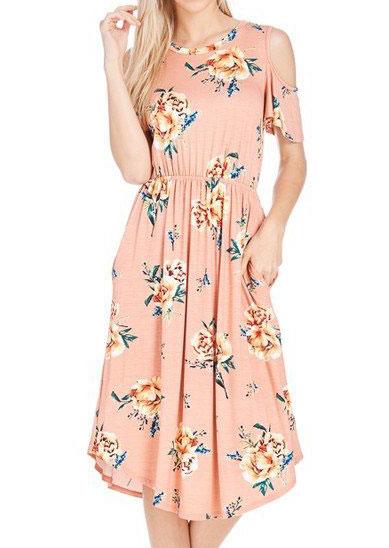 Floral Cold Shoulder Casual Dress 31268