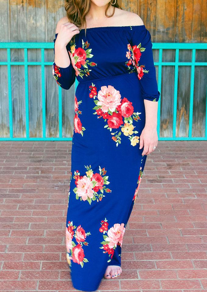 Image of Floral Off Shoulder Maxi Dress