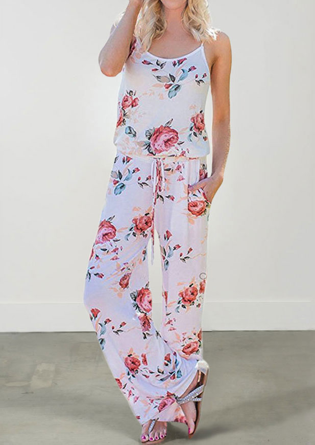 Jumpsuits & Rompers Floral Spaghetti Strap Pocket Jumpsuit without Necklace in White,Khaki. Size: L,XL,2XL