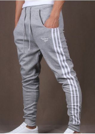 Striped Drawstring Pocket Sport Pants