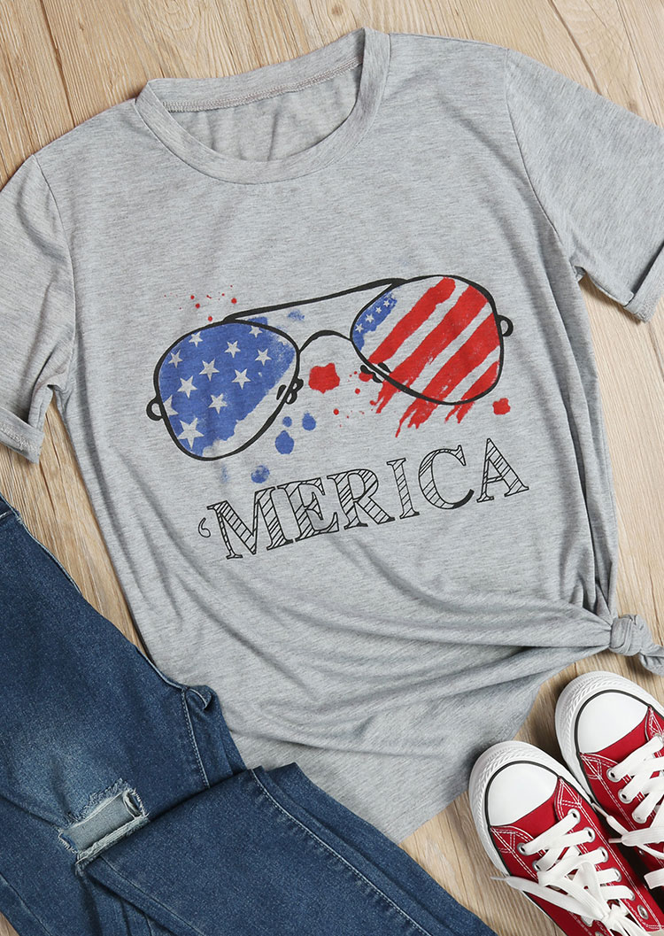 Merica American Flag Glasses T Shirt Fairyseason