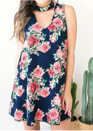 Floral Sleeveless V-Neck Mini Dress