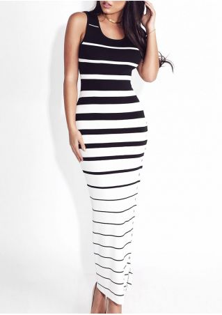 Striped Slit Button Bodycon Dress without Necklace