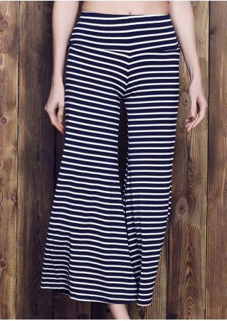 Striped Elastic Waist Flare Pants