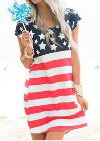 American Flag Printed Short Sleeve Mini Dress